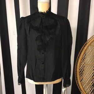 Vintage Lace Black Blouse
